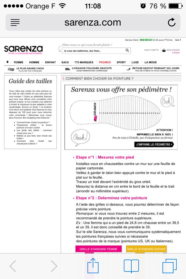 Guide des tailles Sarenza