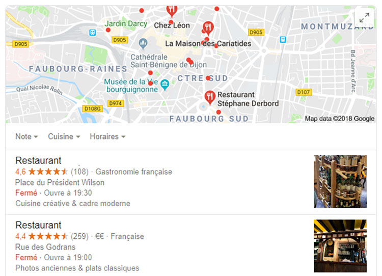 fiche établissement Google Map SEO local
