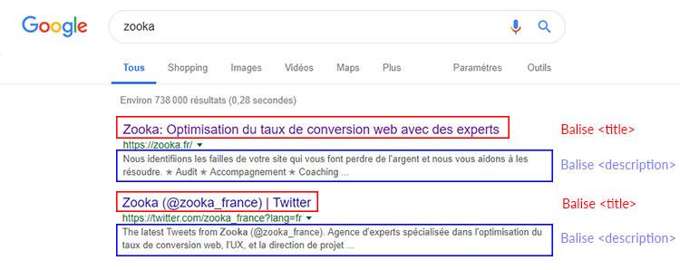 meta <title> et <description> agence Zooka