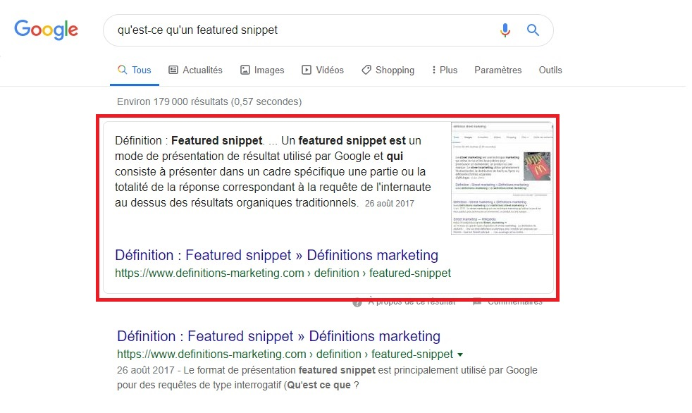 position 0 et featured snippet Google
