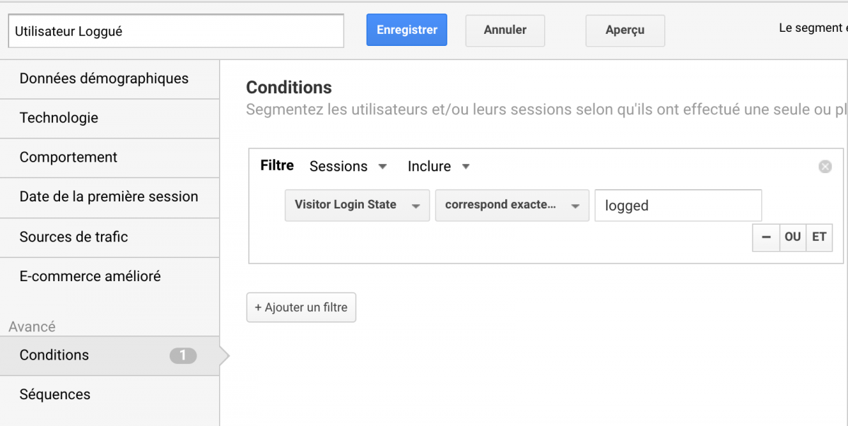 Segment Google Analytics des utilisateurs loggués