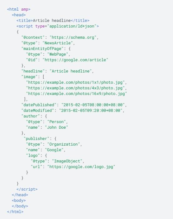 code JSONLD données structurées page AMP