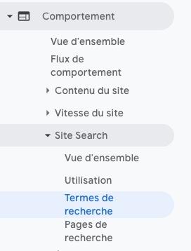 rapport site search dans universal analytics