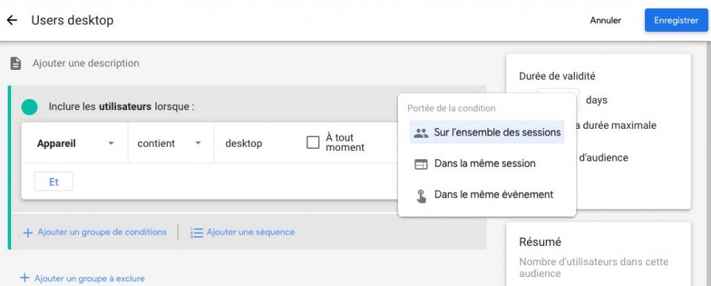 créer une audience personnalisée dans google analytics 4